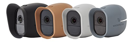 4 x Silicone Skins Compatible With Arlo Pro & Arlo Pro 2 Smart Security - 100% Wire-Free Cameras - by Wasserstein (Black/Brown/Grey/Blue)