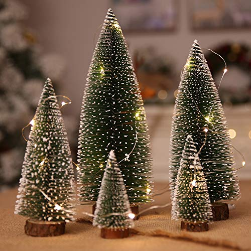 Small Snow Christmas Tree 5Pcs Artificial Frost Trees and 3M/3.28 Yard Wire String Lights Mini Ornaments Tabletop Trees Plastic Winter DIY Crafts Mini Pine Tree for Christmas Holiday Party Home Decor