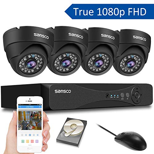 [TRUE 1080p] SANSCO 4 Channel FHD CCTV Camera System with 4 2 Mega-pixel Indoor Outdoor Dome Cameras and 1TB Internal Hard Drive (2M Recording/Playback