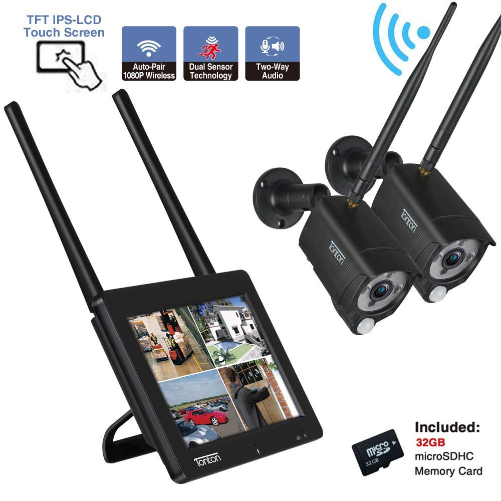 Tonton 1080P Portable LCD Security Camera System Wireless