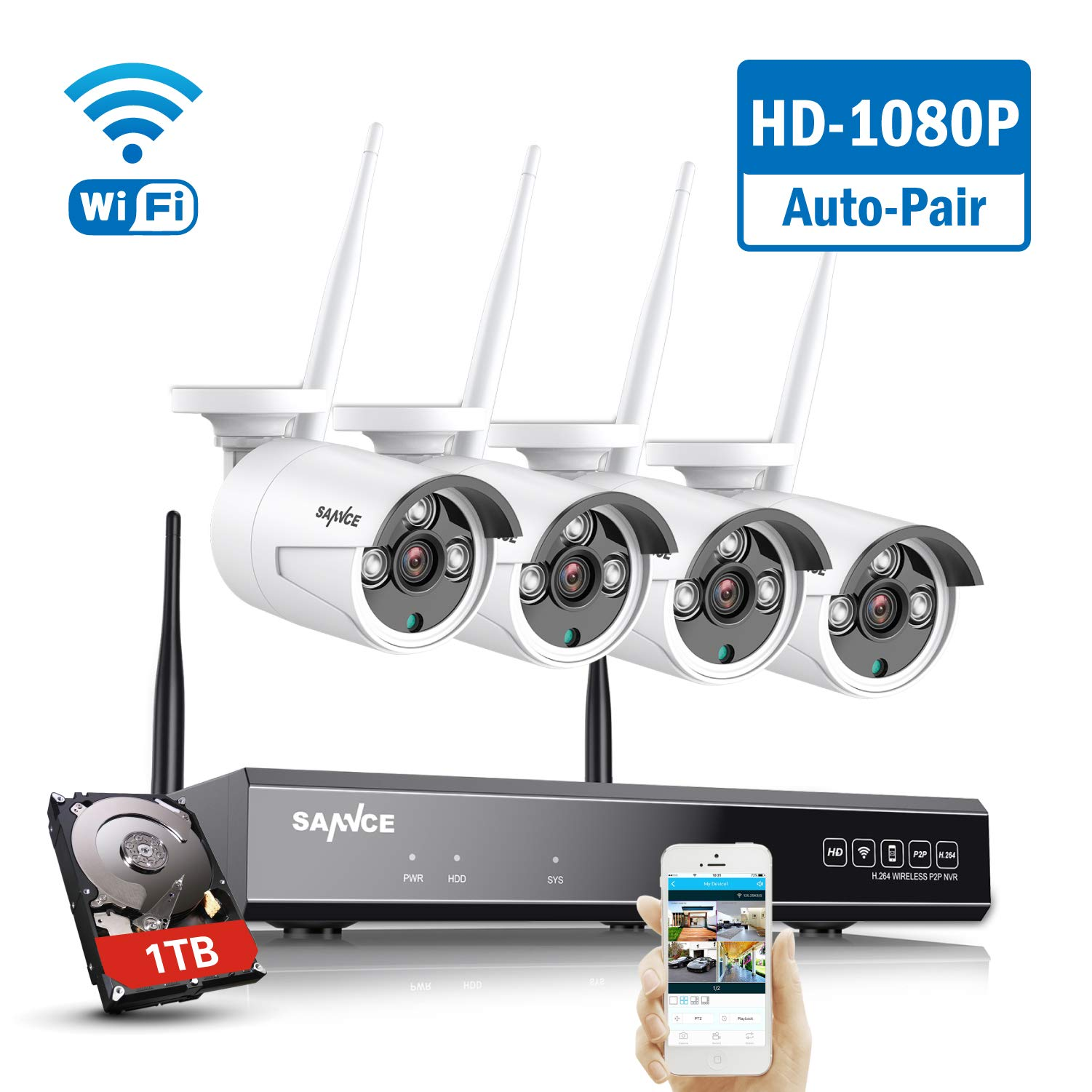 SANNCE Wireless CCTV Camera System 8CH 1080P NVR and 4X 2.0MP Enhanced Signal Outdoor WiFi Security IP Cam
