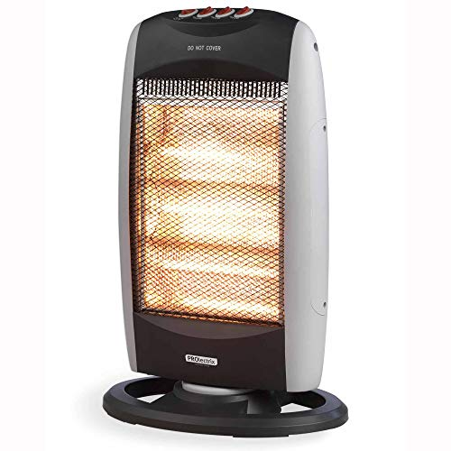 PROLECTRIX EH0197SPRON Three Bar Portable Halogen Heater with 3 Heat Settings and Wide Angle Oscillating Function 1200W