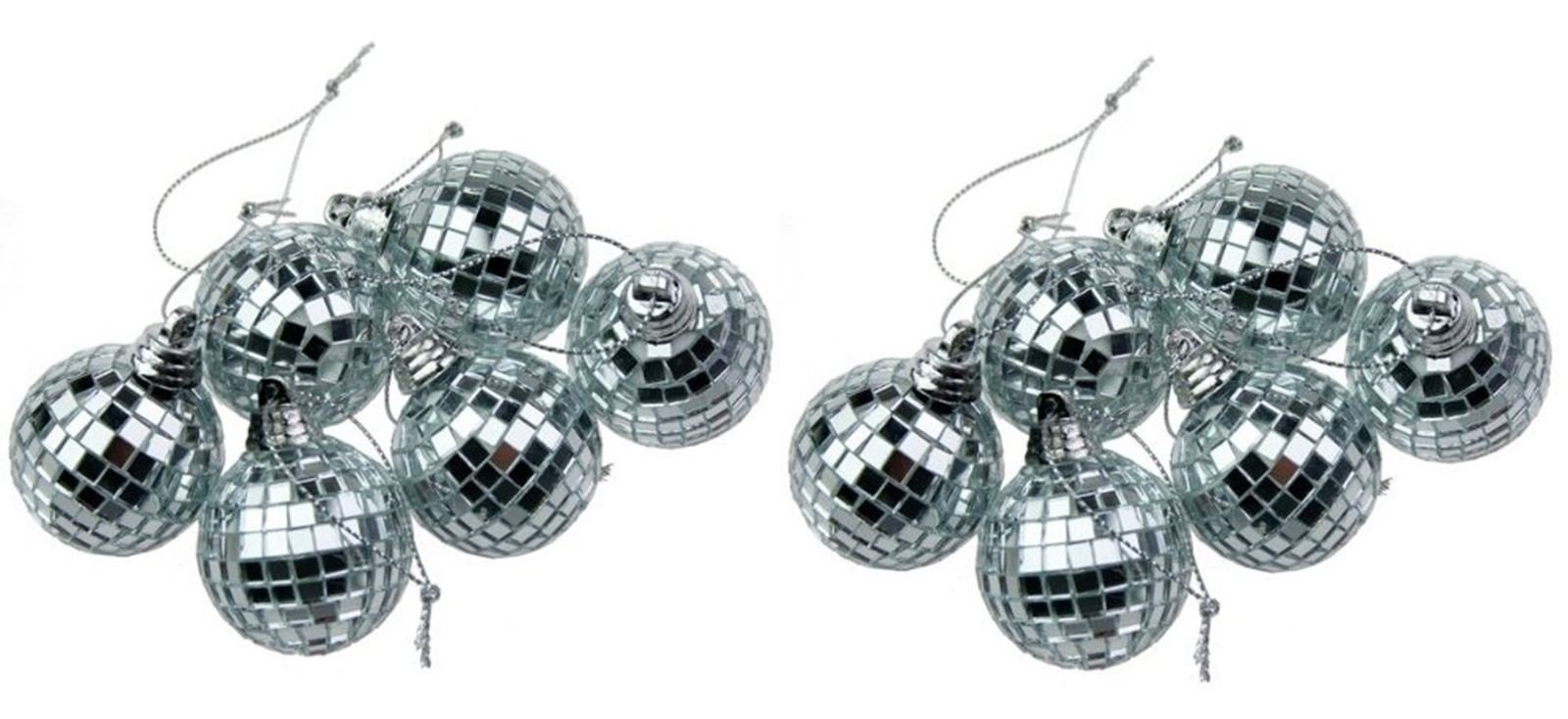 Silver Mini Disco Mirror Ball Christmas Tree Bauble Home Party Decoration Gift Fun Room Craft Frozen