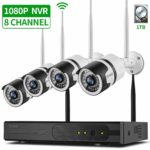YI-SIQI Wireless CCTV Camera System 8CH 1080P 1TB NVR Recorder + 4Pcs 2MP HD Waterproof Surveillance Bullet Cameras with Night Vision P2P Remote View Motion Detection for Home Security