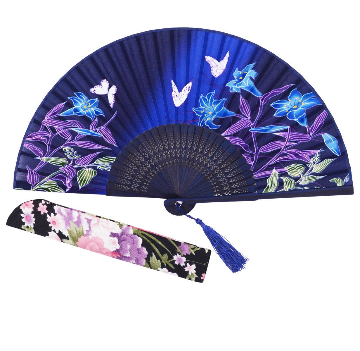 "STHUAHE 8.27""(21CM) Morning Glory and Butterfly Printing Pattern Woman Folding Fans"