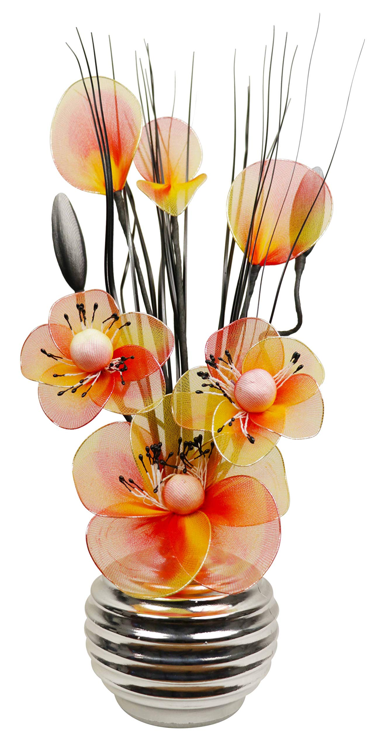 Silver Vase with Orange Artificial Flowers