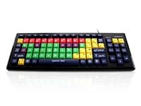 Accuratus Monster 2 - USB Mixed Colour Lower Case Keyboard with Extra large Keys and a 2 Port USB Hub