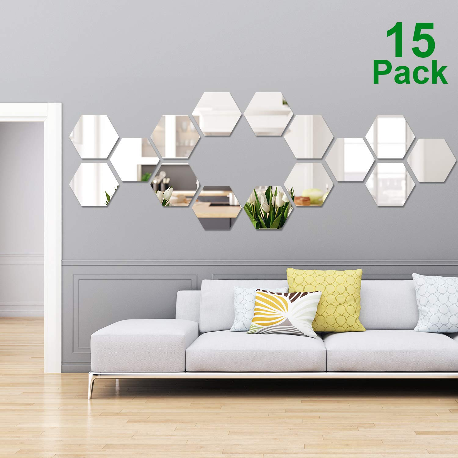 15 Pieces Removable Acrylic Mirror Setting Wall Sticker Decal for Home Living Room Bedroom Decor (Hexagon