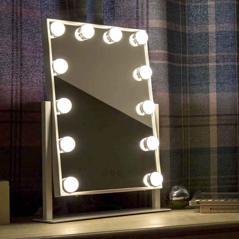 At Home Comforts Light Up Hollywood Mirror with Dimmable LED Globe Lights for Makeup