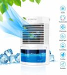 ZumYu Air Cooler Portable 5-in-1 Mini Air Conditioner Personal Space Air Cooling Fan Humidifier Purifier with 3 Adjustable Speeds 7 Colors LED Soft Light for Bedroom