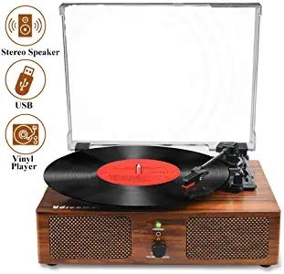 Vinyl Record Player Bluetooth Turntable with Built-in Speakers and USB Belt-Driven Vintage Phonograph Record Player 3 Speed for Entertainment and Home Decoration…