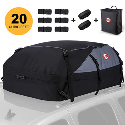 Car Roof Bag Cargo Carrier 20 Cubic Feet Waterproof Rooftop Cargo Carrier Soft Boxes with 8 Reinforced Straps for All Cars with/Without Rack