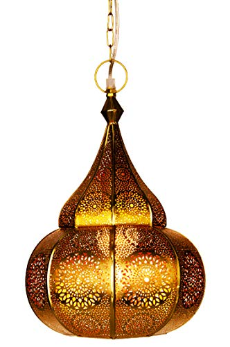 Moroccan Lamp Ceiling Lights Ilham 40cm Large Gold E27 Socket | Oriental Style Vintage Pendant Lantern Light | Arabian Home Decor Lighting as Hanging Chandelier for Living Room Bedroom or Kitchen     [Energy Class A++]
