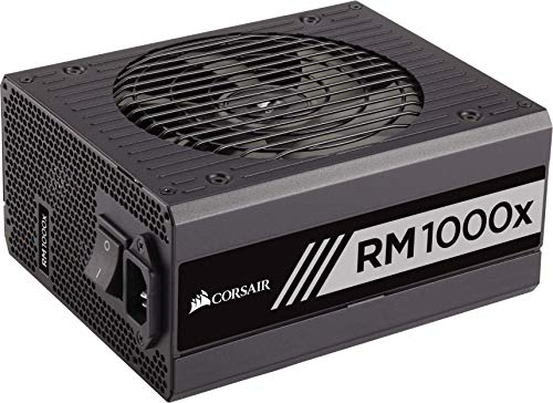 Corsair CP-9020094-UK RM1000x 1000 W 80 Plus Gold Certified Modular 135 mm Thermally Controlled Fan Power Supply Unit - Black