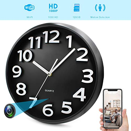 YMS HD 1080P WiFi Spy Camera (5000mAh Battery) Wall Desk Clock Hidden Camera Alarm Clock for Home Security Nanny Cam Support iOS/Android/PC Remote Real-time Video and Motion Detection Alarm