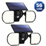 OUSFOT Outdoor Lights Solar Powered 56 LED Solar Lights Motion Sensor Double Heads Waterproof Security Light Adjustable Spotlight for Garage Garden Front Door Wall Driveway (2 Pack)