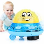 Powcan Bath Toys 2 in 1 Bath Fountain Toy Spray Water Baby Bath Ball Toy Electric Sprinkler Toddlers Kids Bathtub Bath Time Water Game Toys Educational Light Up Musical Toys for Boys Girls Infants