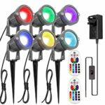 ZUCKEO Outdoor Garden Pathway Lighting 6W LED RGB Floodlights with Remote Control