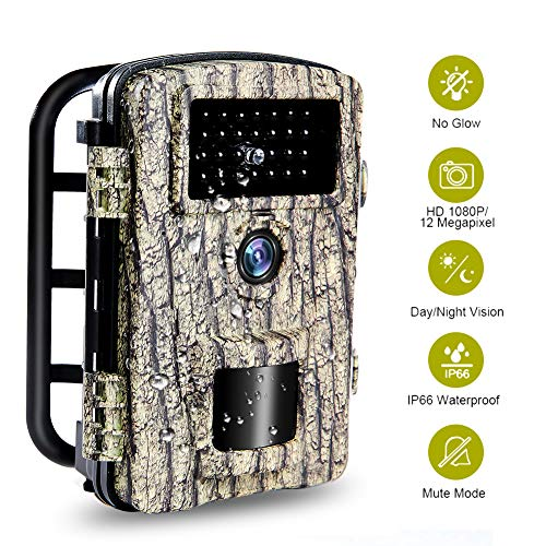 Wildlife Camera Trail Camera 12MP 1080P Night Vision Hunting Camera with No Glow 940nm IR LEDs IP66 Waterproof