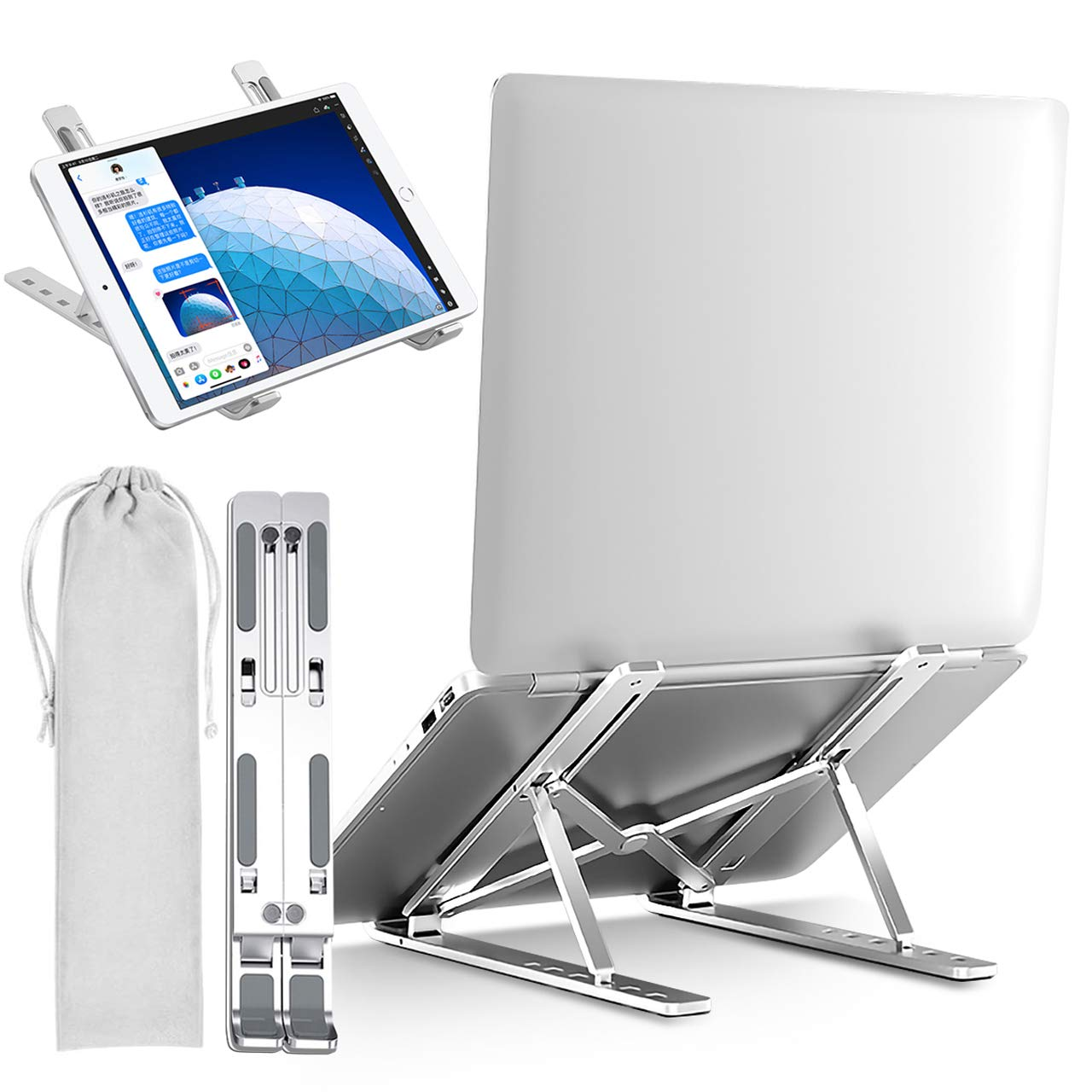 """KwuLee Portable Laptop Stand Multi-Angle Foldable Tablet Computer Holder 6-Height Adjustment Laptops Riser Support for 10-15.6""""Universal Notebook (Silver)"""