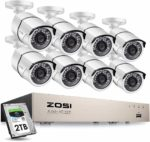 ZOSI 5MP 8CH POE CCTV Camera System with 2TB HDD 8X 1920P (5MP) Outdoor IP Cameras and H.265+ Ultra HD NVR