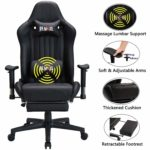 Large Size Gaming Chair High-Back PC Racing Chair Headrest Lumbar Massager Cushion Ergonomic Swivel PC Racing Chair with Retractable Footrest