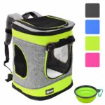 """Pawsse Dog Backpack Cat Carrier Backpack Puppy Rucksack up to 15 LBS Padded Fabric Outdoor Short Trip Pet Carrier Airline-Approved Backpacks 16"""" H x13.2 L x12 W Green and Grey"""
