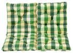 Ambientehome 98 x 50 x 8 cm HANKO Garden Chair Cotton Padded Low Back Cushion - Checked Green (2-Piece)