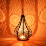 Moroccan Vintage Lantern Lights Lamp Ezana 36cm Black Large | Oriental Garden Outdoor Hanging Lanterns for Candles as Decorations | Arabian Indoor Candle Tea Light Holders as Indian Party Home Decor