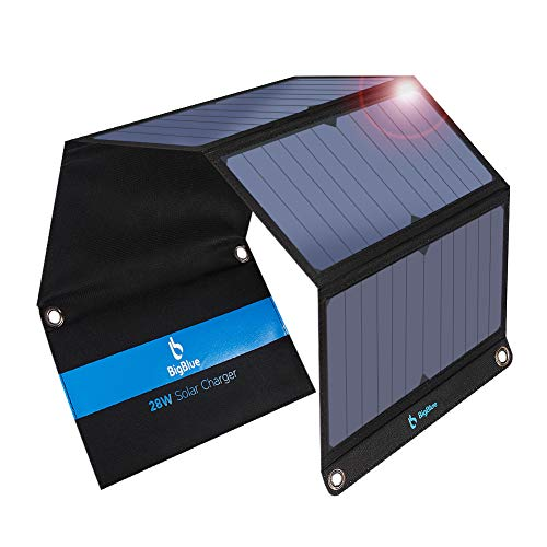 BigBlue 28W Solar Charger Foldable Outdoor Solar Powered Charger With SunPower Solar Panels Dual USB Ports for iPhone iPad Samsung Galaxy LG Cellphones and Devices: Amazon.co.uk: Electronics