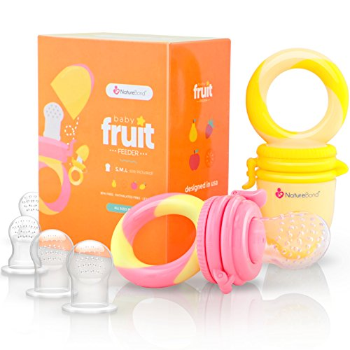 NatureBond Baby Food Feeder/Fruit Feeder Pacifier (2 Pack) - Infant Teething Toy Teether in Appetite Stimulating Colors   Includes 6 PCs All Sizes Silicone Sacs (Peach Pink and Lemonade Yellow): Amazon.co.uk: Baby