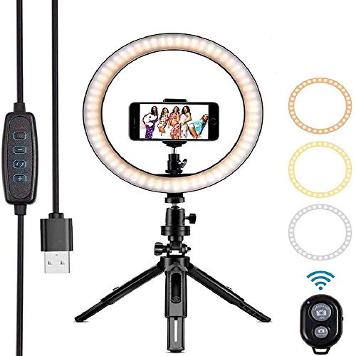 "Rtwrtne 10"" LED Ring Light with Tripod Stand & Phone Holder"