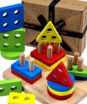 Jaques of London Geometric Shape Sorter Stacking Toys | Wooden Toys for 3 year old Boy and Girls | | Wooden Shape Sorter Montessori Toys | Premium Educational Wooden Puzzles Toddler Toys | Since 1795: Amazon.co.uk: Toys & Games
