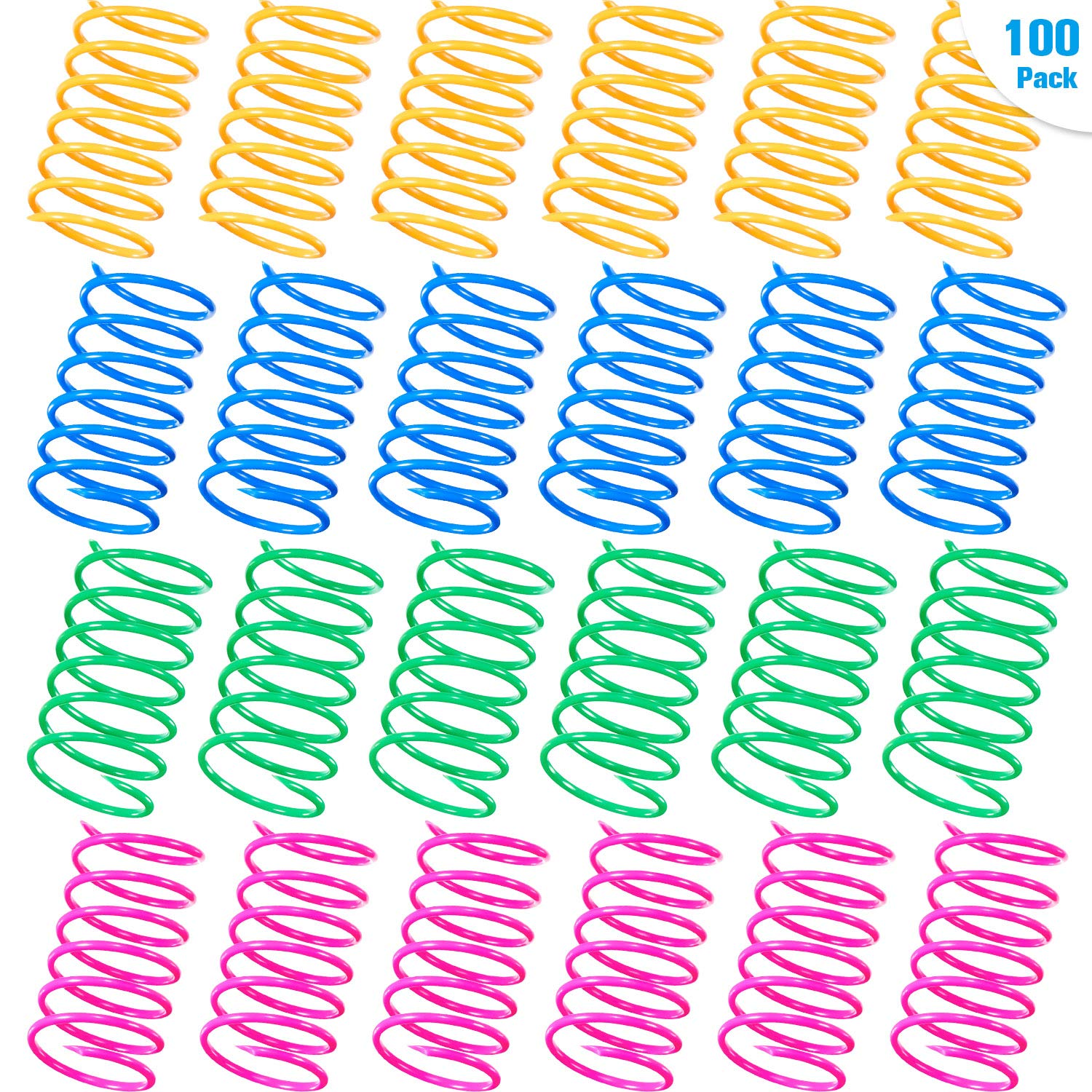 Gejoy 100 Pieces Cat Spring Toys Wide Colorful Springs Cat Toy BPA-free Plastic Coil Spiral Springs Pet Interactive Toys for Cats Kittens Swatting