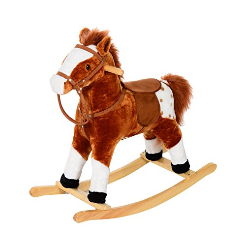 HOMCOM Children Child Kids Plush Rocking Horse with Sound Handle Grip Traditional Toy Fun Gift (Brown): Amazon.co.uk: Toys & Games