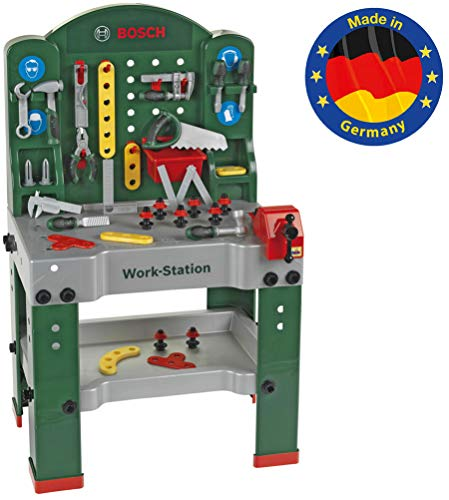 Theo Klein 8580 Bosch Work Station I 44 Parts I Workbench Including Work Surface with learning Function I Dimensions: 61 cm x 44.5 cm x 101 cm I Toy for Children Aged 3 Years and up: Amazon.co.uk: Toys & Games