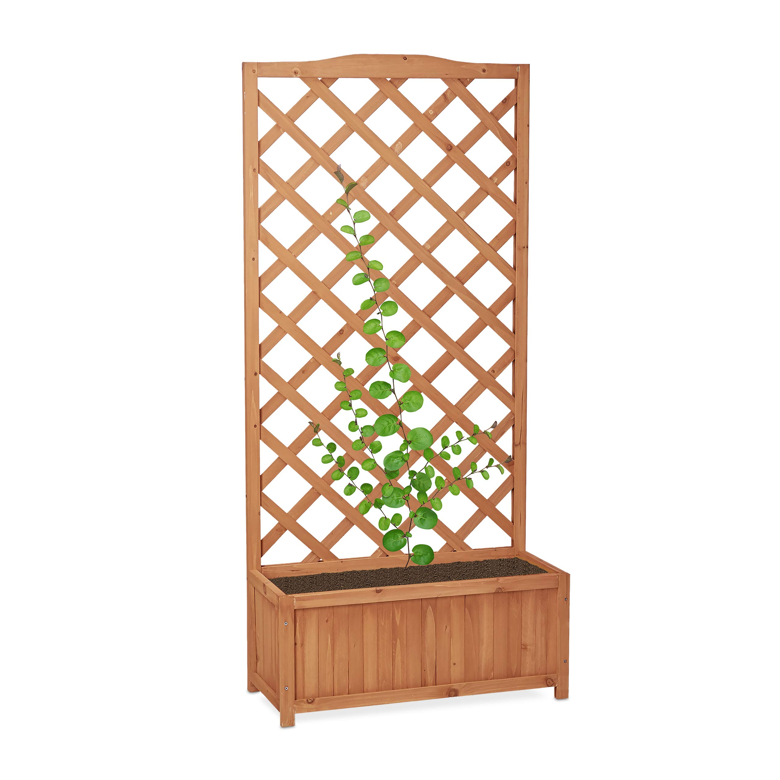 Relaxdays Wooden Planter Box with Trellis