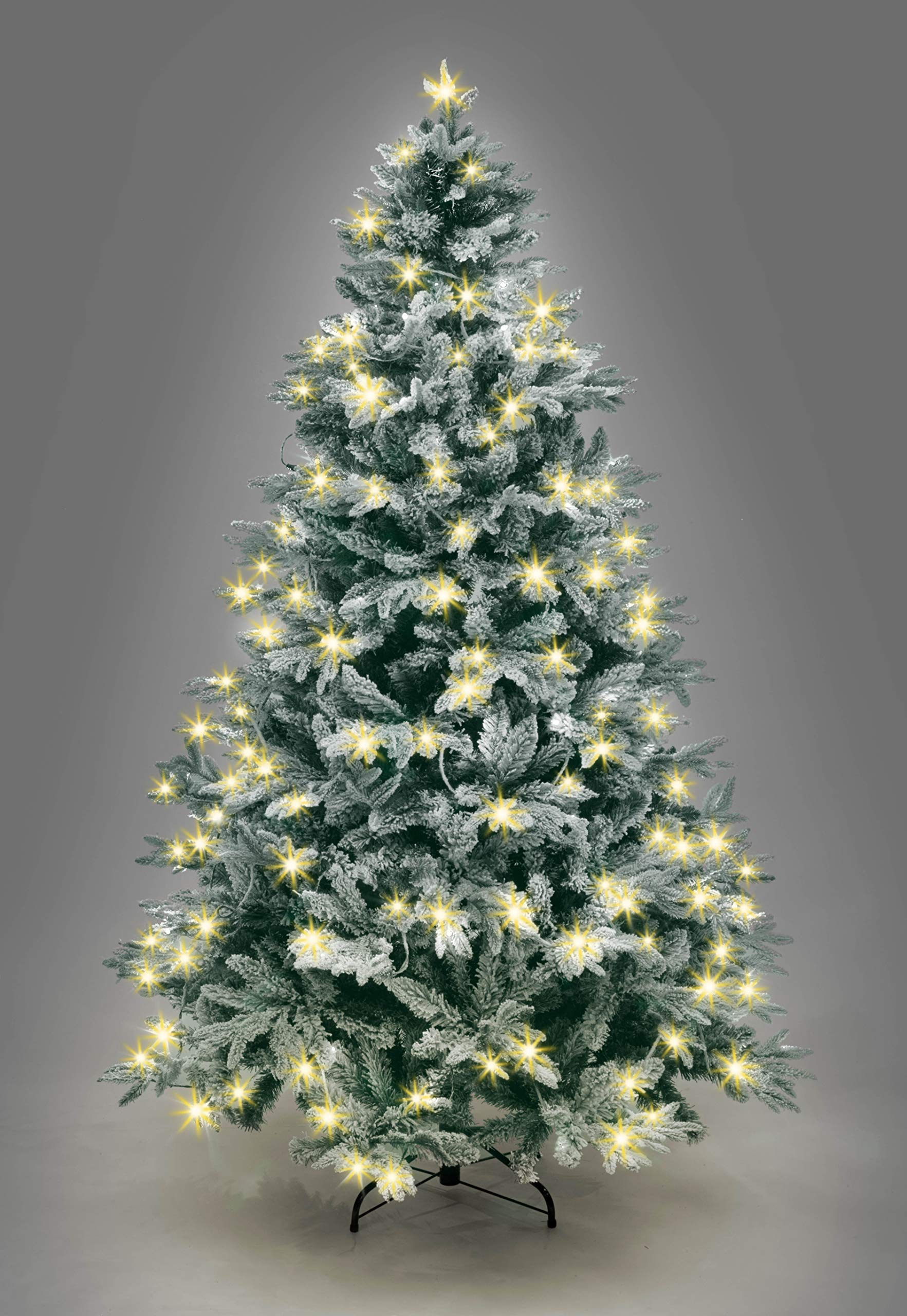 SHATCHI Pre-Lit Lapland Fir Artificial Green Christmas Tree Snow Flocked PE PVC Mixed Tips Hinged Branches Bushy Xmas Home Snowy Decorations