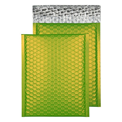 Blake Purely Packaging C5+ 250 x 180 mm Matt Metallic Padded Bubble Envelopes Peel & Seal (MTLG250) Lime Green - Pack of 100