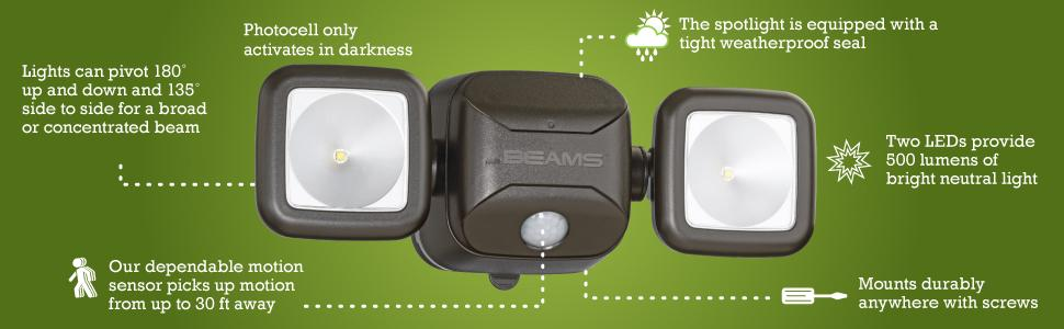 mr beams, high performance security light, dual head spotlight, outdoor security spotlight