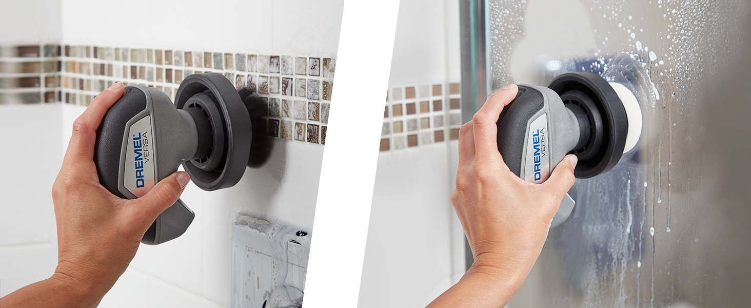 bathroom cleaning;cleaning;cleaning tool; scrubber; power scrubber;versa;dremel;clean;bathroom,brush