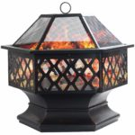 """Dawoo 24"""" Metal Outdoor Fire Pit - Large Bonfire Wood Burning Patio & Outdoor Fireplaces Backyard Firepit For Outside With Spark Screen And Round Fireplace Cover.(70x60x65cm)"""