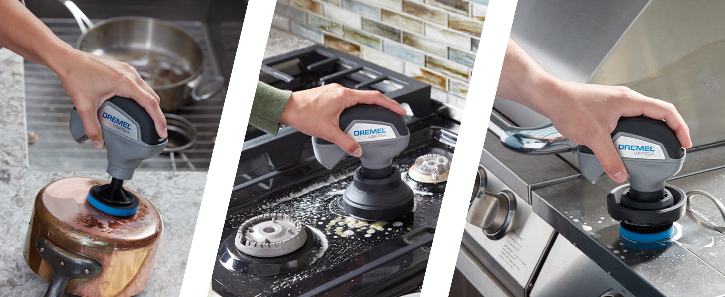 kitchen cleaning;cleaning;cleaning tool; scrubber; power scrubber;versa;dremel;clean;dishwashing