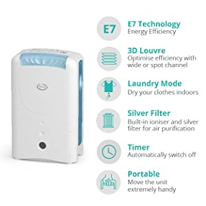 EcoAir DD1 CLASSIC MK5 Desiccant Dehumidifier with Ioniser and Silver Filter, 7L - Blue