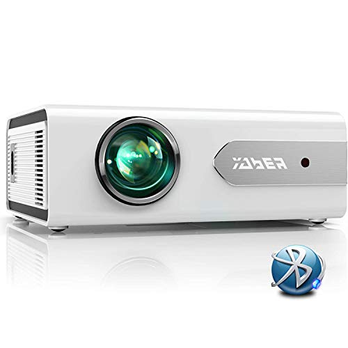 YABER Projector Mini Bluetooth Projector 5500 Lumens Portable Videoprojector Full HD 1080P Home Theate Compatible with Smartphone/PC/Tablet/PS3/PS4/TV Stick/DVD/Bluetooth Speaker/Headphone