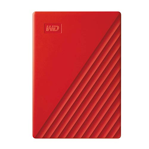 WD 2 TB My Passport Portable Hard Drive with Password Protection and Auto Backup Software - Red - Works with PC