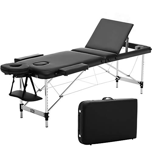 JL Comfurni ® Portable Massage Table 3 Section All-Inclusive Folding Couch Bed for Tattoo Beauty Salon Therapy with Aluminum Frame -Black