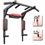 ANTOPY Pull Up Bar Wall Mounted Chin Up Bar Dip Stand Power Tower Multifunctional Workout Equipment Exercise Machine for Home Gym Fitness Strength Training Max 440lbs