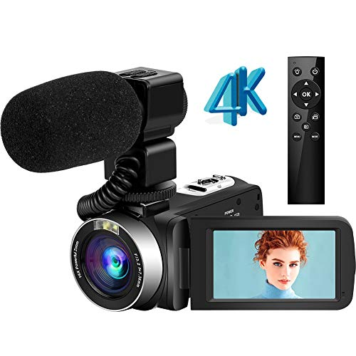 Camcorder 4K Video Camera Ultra HD 48MP Vlogging Camera with Microphone 2.4G Wireless Remote Control Camcorder Rotatable Touch Screen and Webcam Function