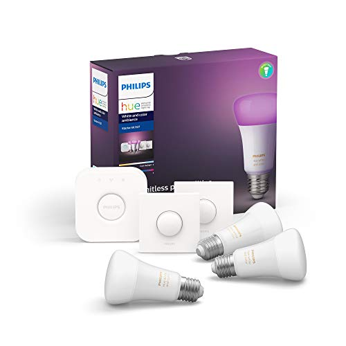 Philips Hue White and Colour Ambiance Starter Kit: Smart Bulb 3x Pack LED [E27 Edison Screw] Including 2x Hue Buttons + Bridge